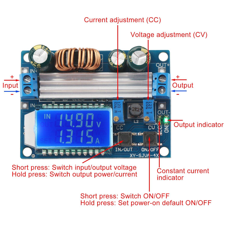 Buck Boost Converter Display Drok Board Dc To 5v 30v 55 12v 05 24v Adjustable Constant Current Voltage Step Up Down