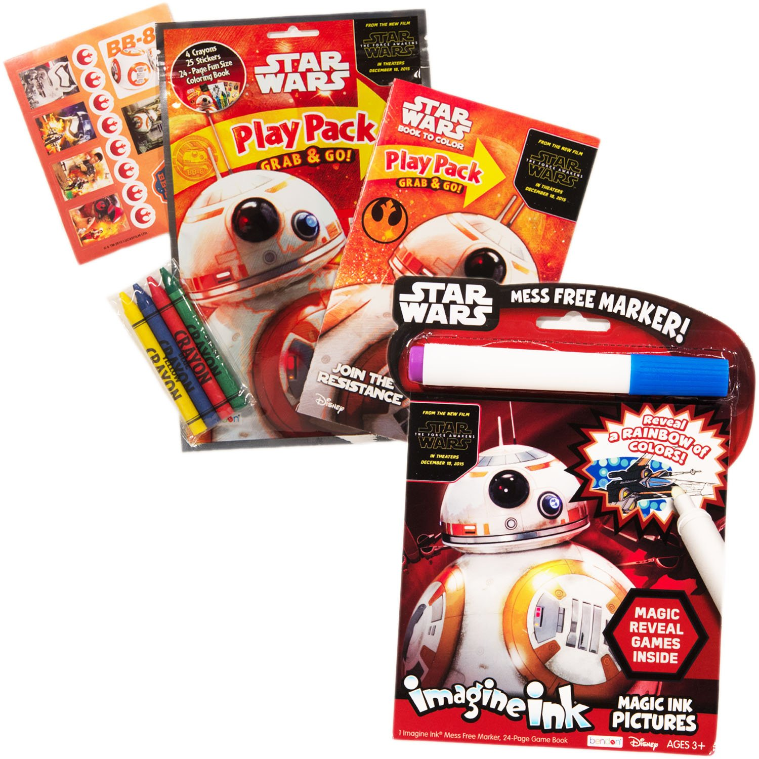 amazoncom star wars imagine ink book and activity pack set with stickers includes mess free marker toys games - Imagine Ink Coloring Book