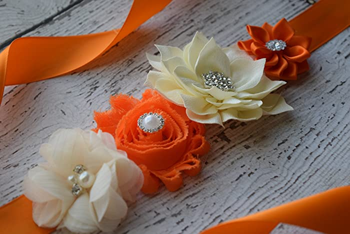 Amazon Com Flower Sash Orange Ivory Plum Sash Flower Belt