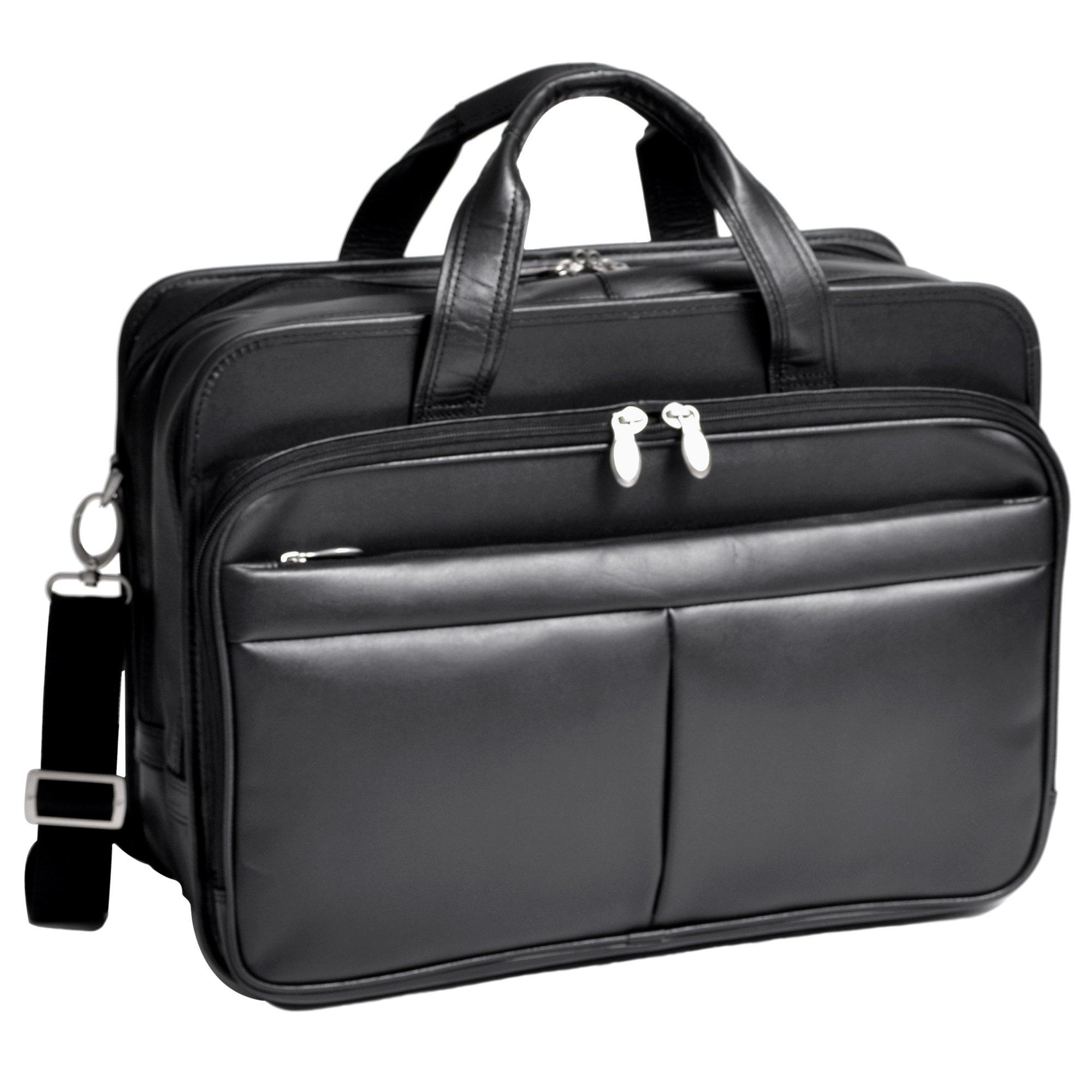McKleinUSA WALTON 83985 Black Expandable Double Compartment Laptop Case w/ Removable Sleeve by McKleinUSA