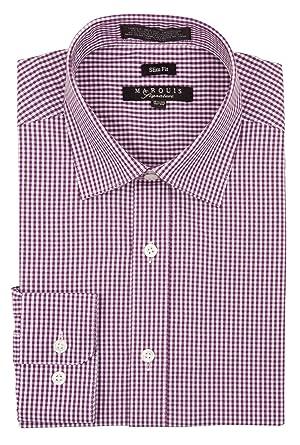 acade8c4c523 Marquis Men's Checkered Slim Fit Dress Shirt at Amazon Men's Clothing store: