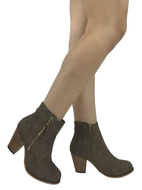 3fd557eb2e83 Steven Ella Arizona Faux Leather Boot With Stacked Chunky Heel Bootie and  Zipper