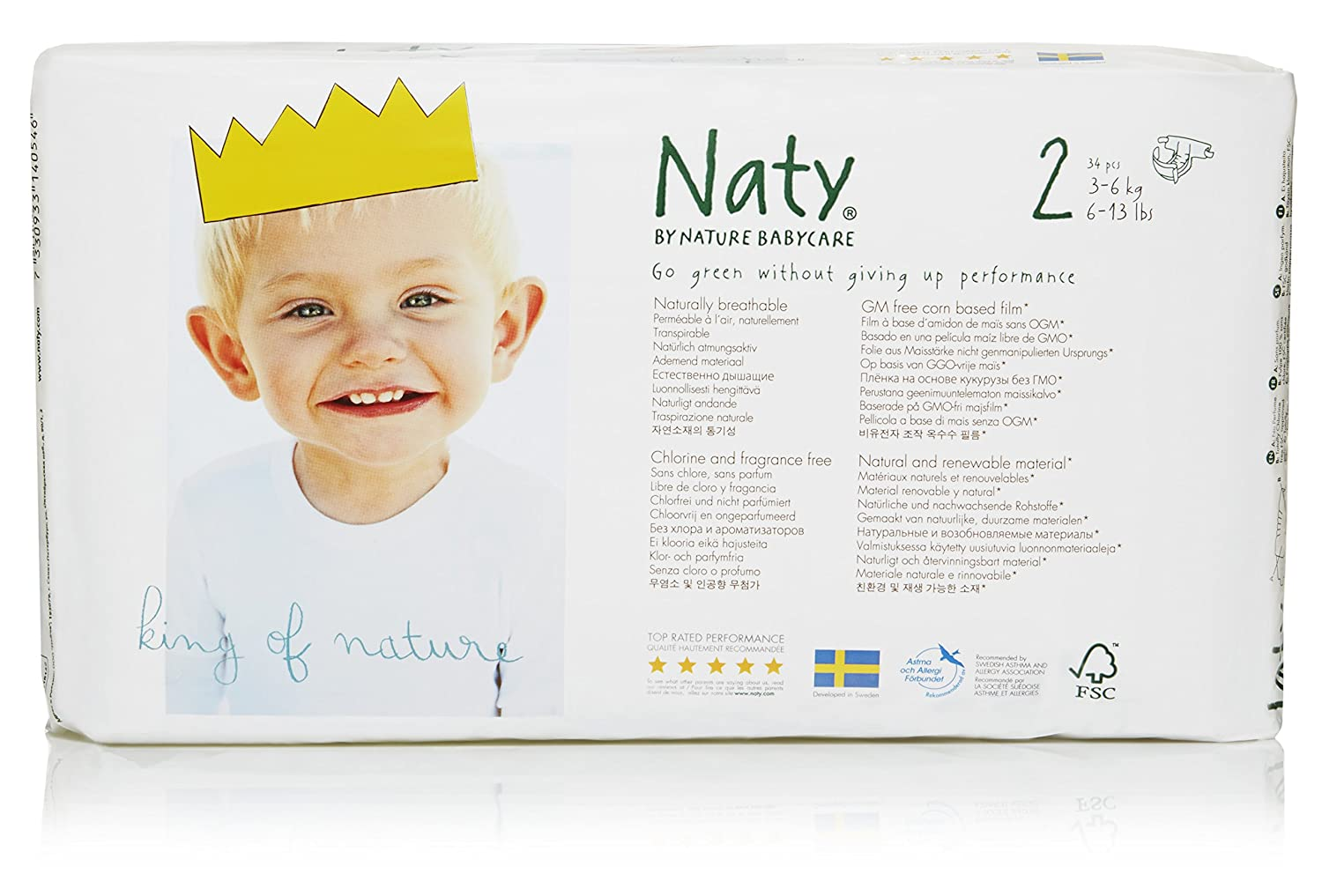 Amazon.com: Naty by Nature Babycare Eco-Friendly Premium Disposable Diapers for Sensitive Skin, Size 2, 4 packs of 34 (136 Count) (Chemical, chlorine, ...