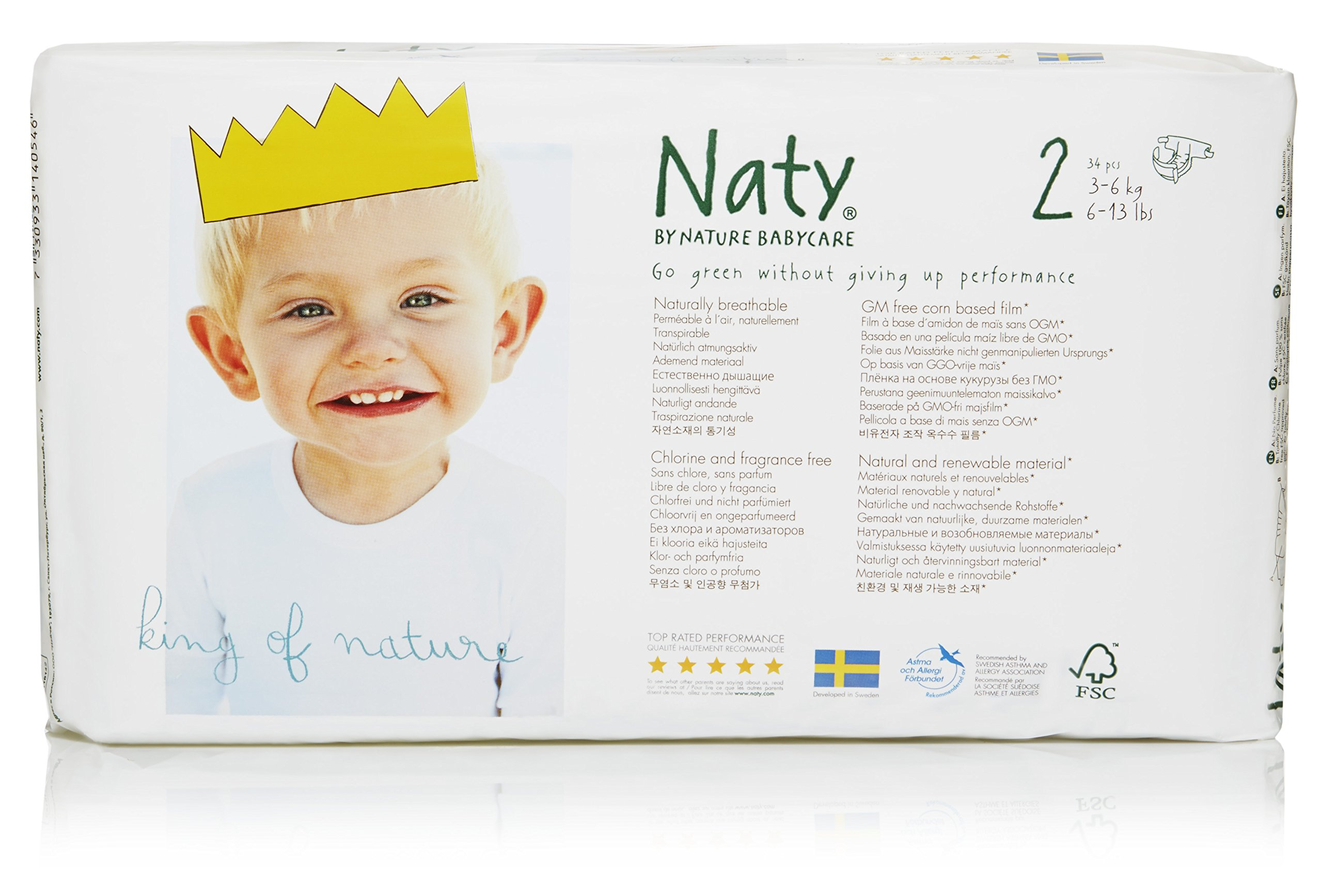 Naty by Nature Babycare Eco-Friendly Premium Disposable Diapers for Sensitive Skin, Size 2, 4 packs of 34 (136 Count) (Chemical, chlorine, perfume free)