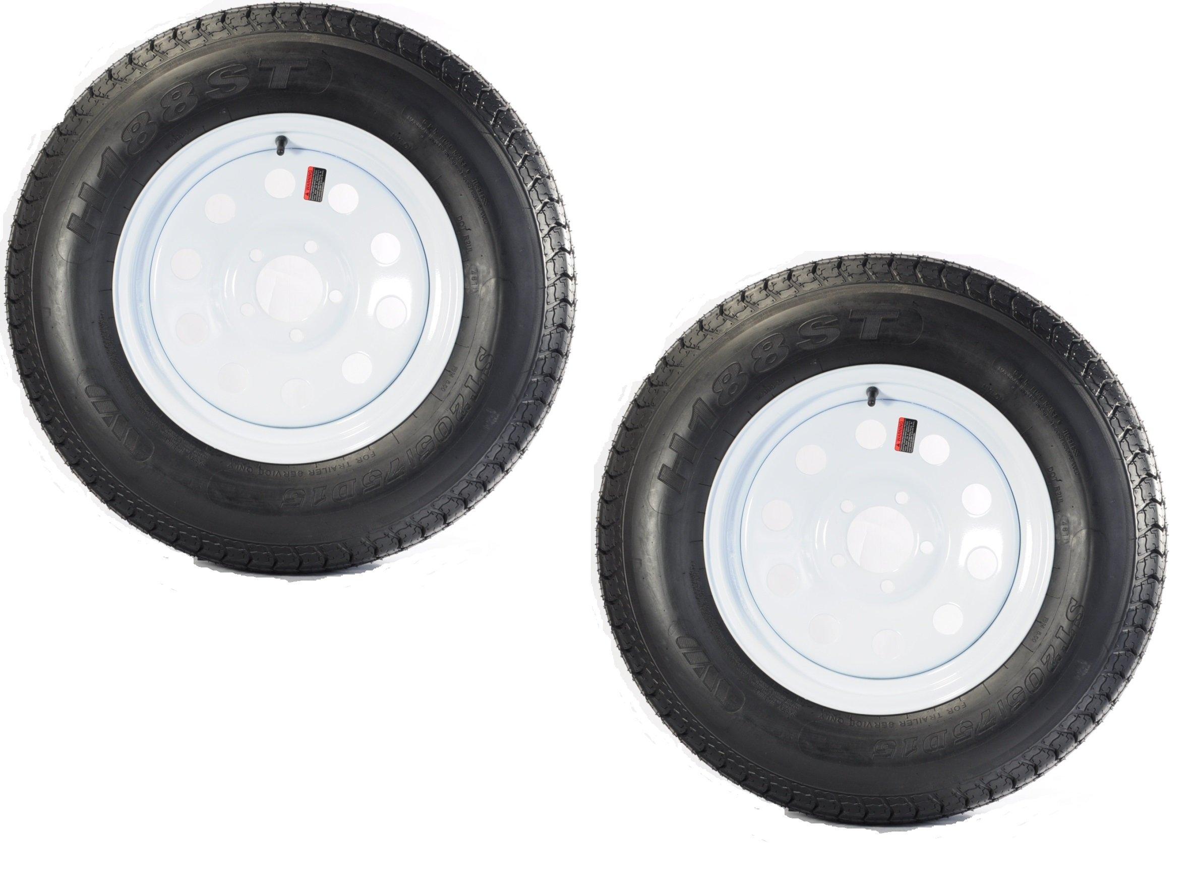 2-Pk eCustomrim Trailer Tire & Rim ST205/75D15 15'' Load D 5 Lug White Mod 58533
