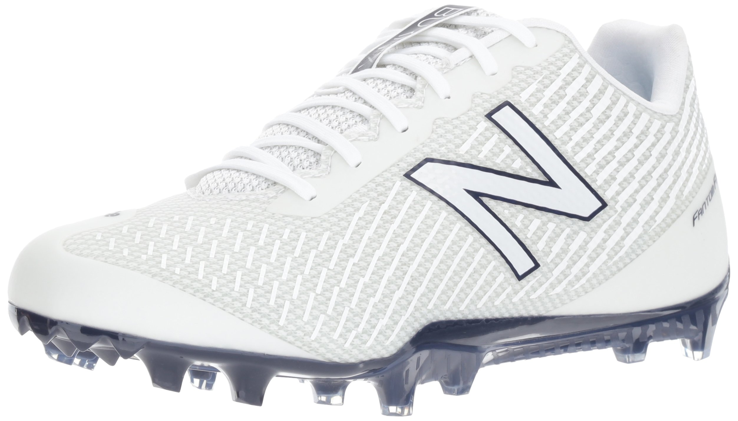 New Balance Men's Burn Low Speed Lacrosse Shoe, White/Blue, 6.5 2E US