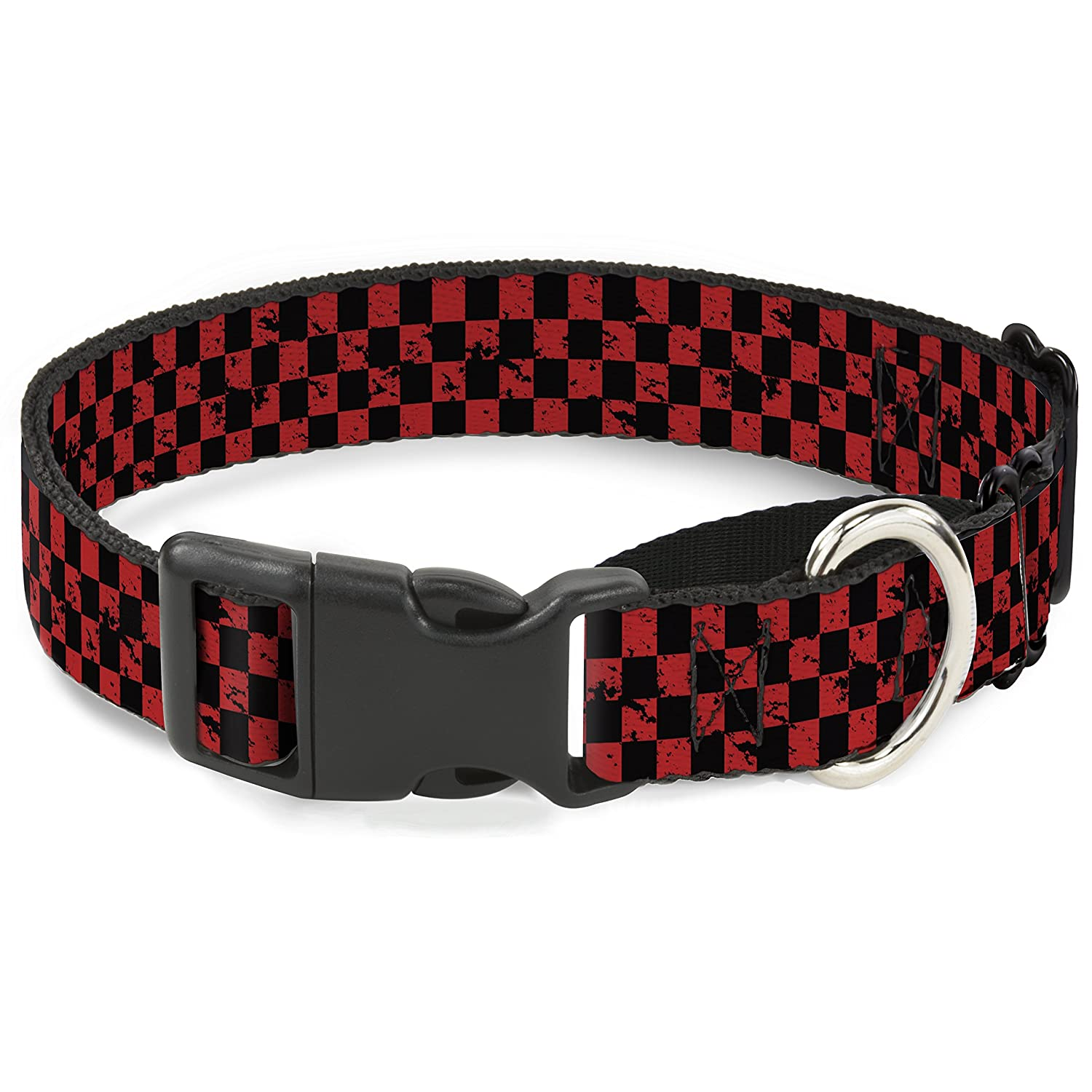 Buckle-Down Checker Weathered Black Red Martingale Dog Collar, 1  Wide-Fits 9-15  Neck-Small