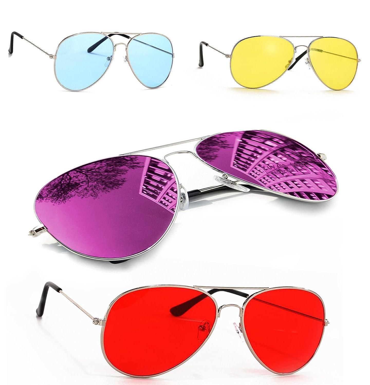 Polarisiert Sonnenbrille für Jungen, Mädchen, Kinder, Metall, Pilotenbrille, silberfarbene spiegelnde Gläser, Unisex (Blue) MFAZ Morefaz Ltd
