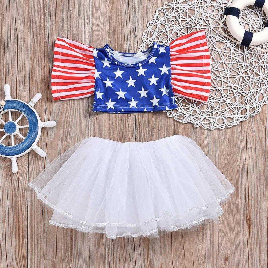 Tutu Skirt Set Creazrise Baby Girls American Flag Dress,Toddler 4th of July Striped Stars Tops