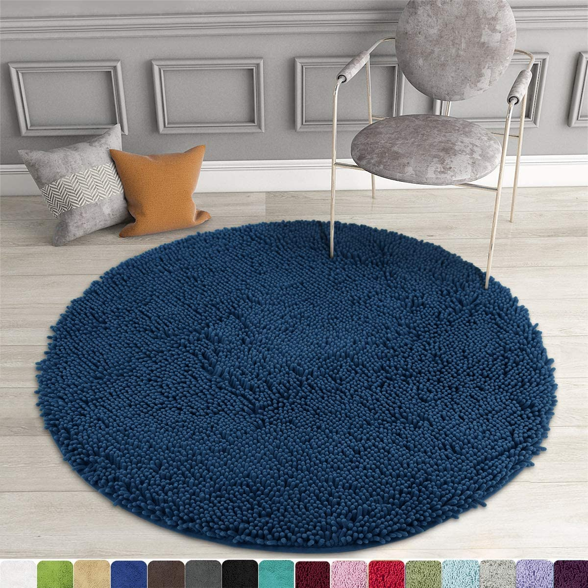 Amazon Com Mayshine Round Bath Mat Non Slip Chenille 3 Feet Shaggy Bathroom Rugs Extra Soft And Absorbent Perfect Plush Carpet For Living Room Bedroom Machine Wash Dry Dark Blue Home Kitchen