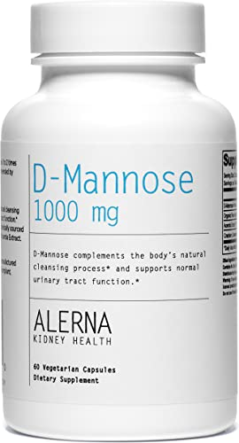 Alerna Kidney Health D-Mannose 1000mg with Organic Rose Hips and Cranberry Concentrate to Support Normal Urinary Tract Function