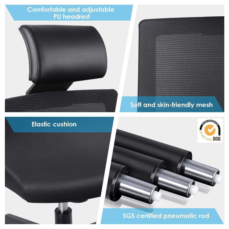 Amzdeal Bürostuhl ergonomischer Schreibtischstuhl mit einstellbarer PU Kopfstütze Drehstuhl mit Taillestütze und Wippfunktion Belastbar bis 136kg