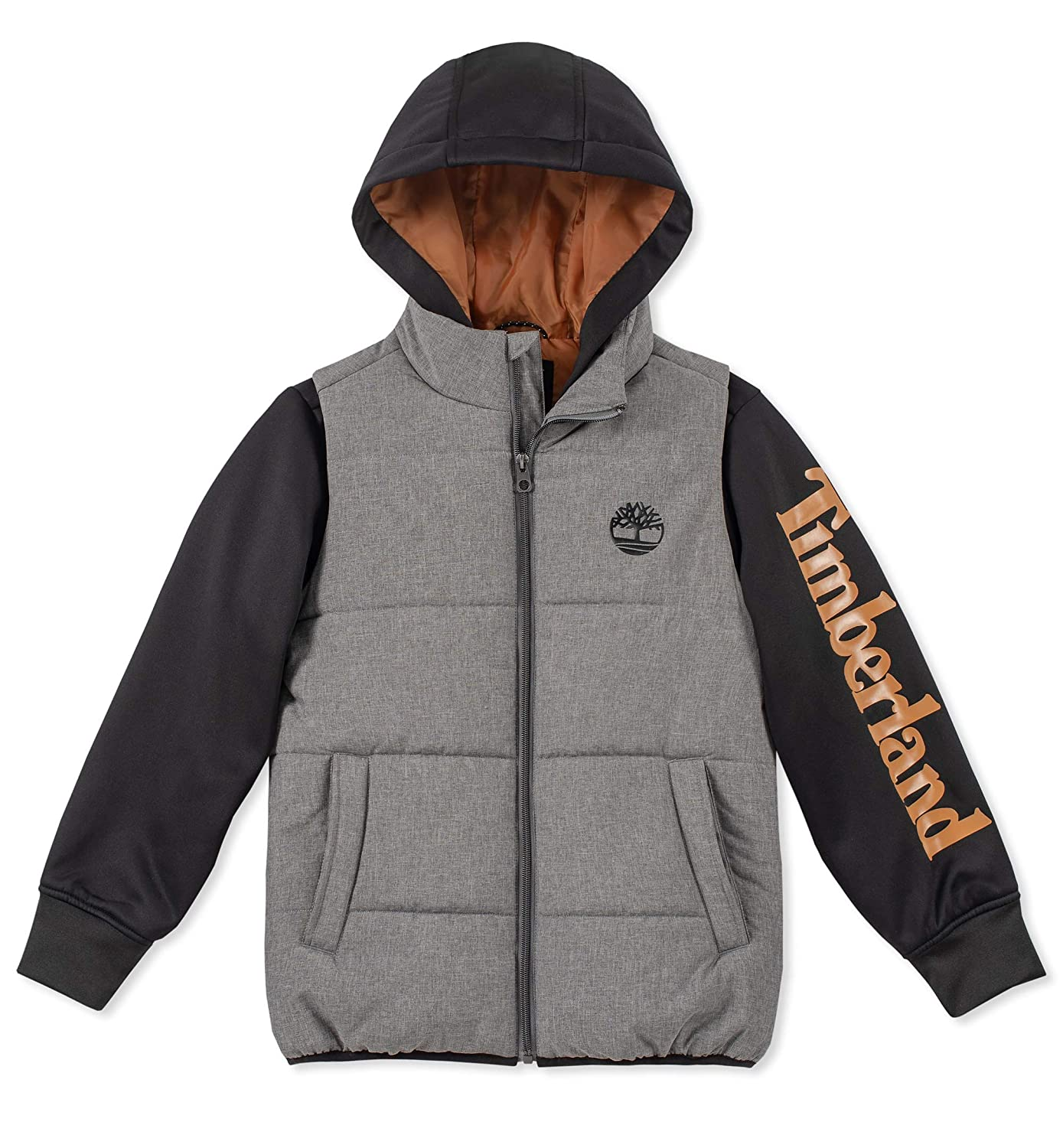 Timberland Boys' Big Long Sleeve Signature Logo Quilted Vest Hoodie