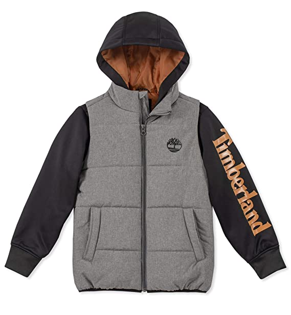 : Timberland Big Boys' Long Sleeve Logo Quilted