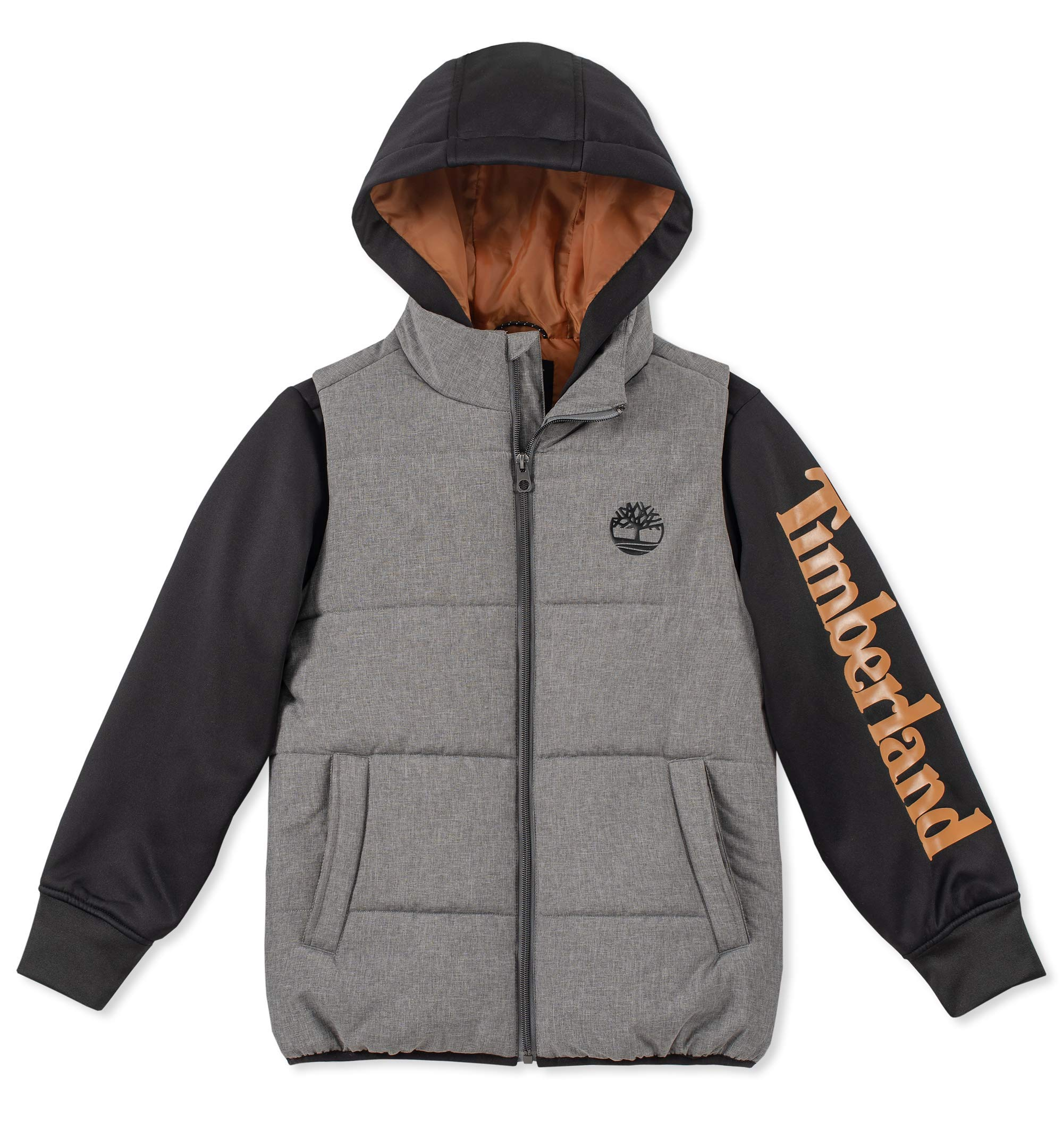 Timberland Big Boys' Long Sleeve Logo Quilted Vest Jacket
