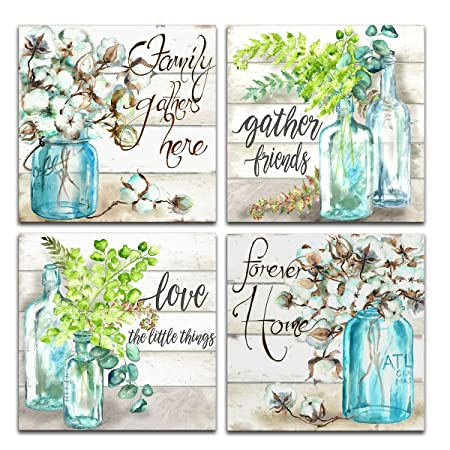 JLXart Wall Art for Kitchen Canvas Print Beautiful Watercolor-Style Family Gathers Here and Forever Home Mason Jar Floral Artwork Four 16x16inchx4pcs, Watercolor