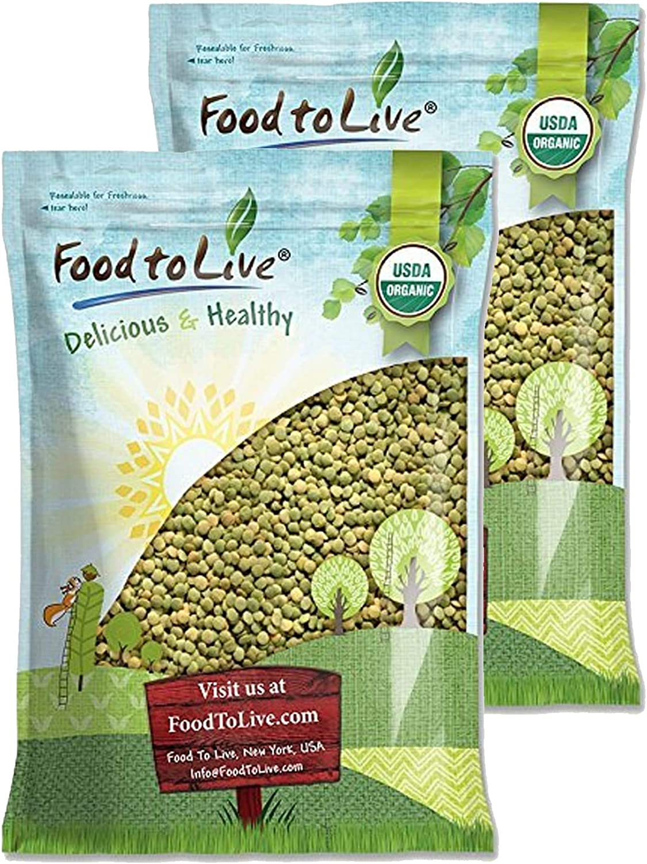 Lentejas verdes Orgánicas enteras, 20 Libras - frijoles secos enteros, no transgénicos, kosher, crudos, germinables, a granel