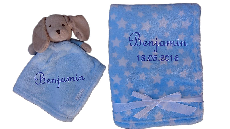 Juego de manta de bebé color Azul claro con estrellas y nombres + Mantita perro bordado regalo Baby Bautizo Nacimiento: Amazon.es: Bebé