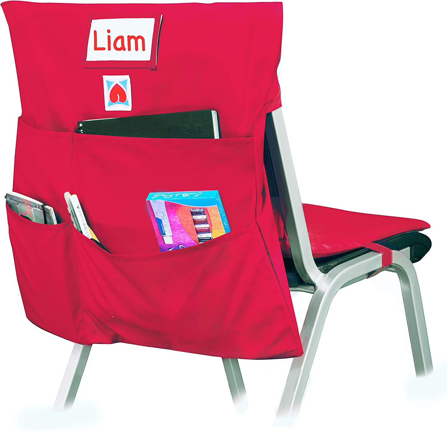 COMFY BUM Chair Bag, Cushioned Chair Pockets for Classroom, chairback seat Sacks, Back to School, Students, Kids, School, Teachers, Preschool, Kindergarten, Homework, College, Office (Red, Large)