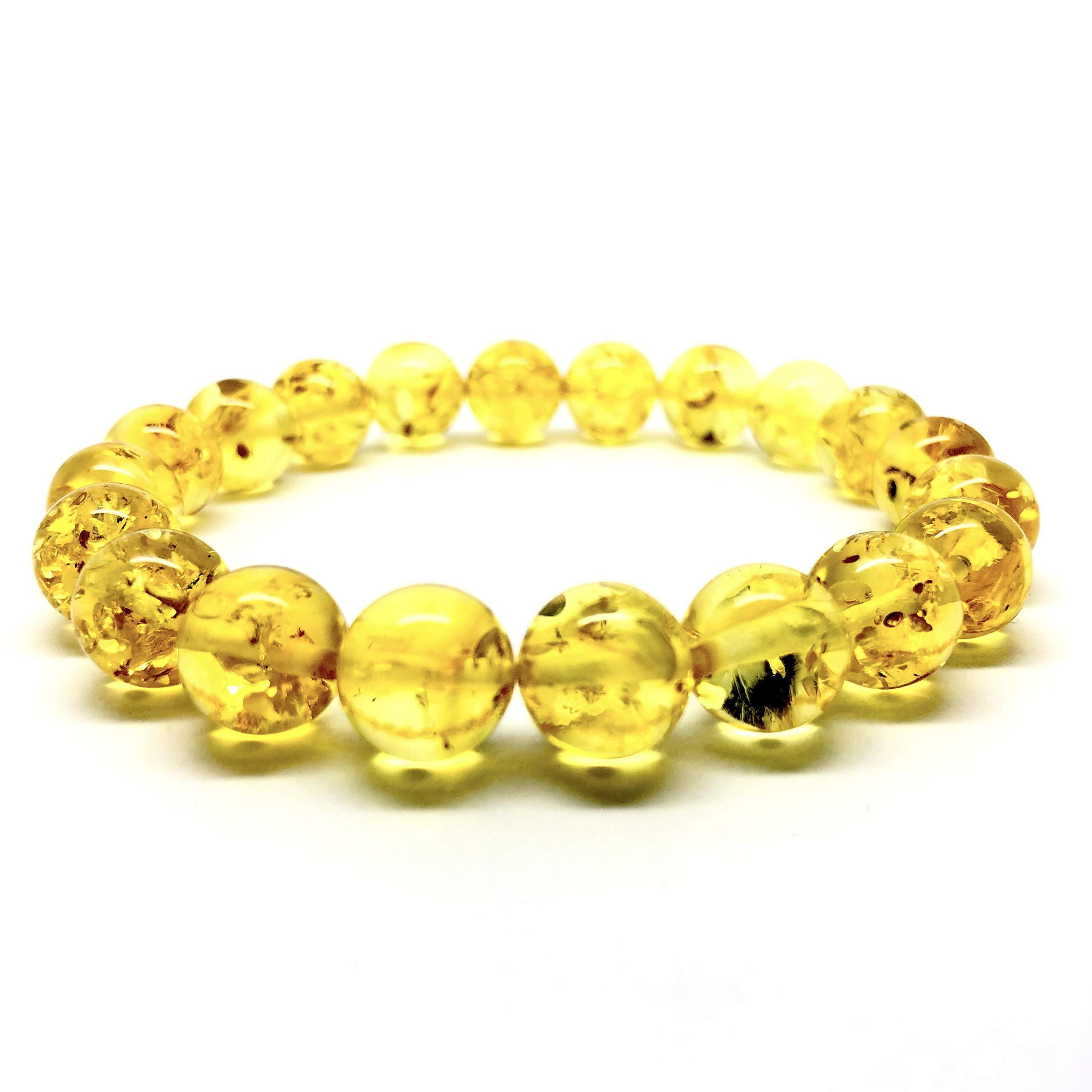 Natural Baltic Amber Bracelet Sparkling Lemon Colour ±11,5g 10± mm Size.