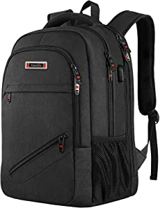 Asenlin 17 Inch Business Laptop Backpack,TSA Large Travel Backpack with USB Charging Port,Water Resistant and Durable Computer Backpack Buitable for Men Women College High School Backpack Black