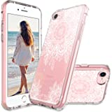 iPhone 7 Case, iPhone 8 Case, MASCHERI Scratch Resistant [White Henna Mandala Floral Lace Design] TPU Bumper Clear Back Panel Hybrid Protective Case Cover for Apple iPhone 8 / iPhone 7 - Clear