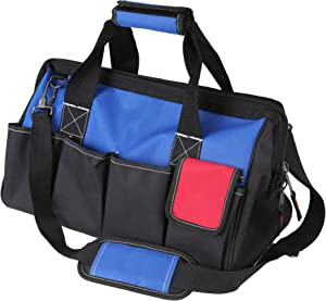 "Tahoe Trails 18"" Wide Mouth Tool Bag and Organizer for Home, Workshop, or Job Site, Non-slip Bottom with 14 Pockets, Padded Handle, Adjustable Shoulder Strap"