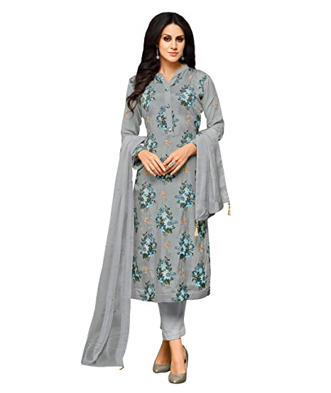 216a4e1494 Applecreation Women'S Cotton Silk Unstitched Salwar Suit Material  (Grey_Free Size): Amazon.in: Clothing & Accessories
