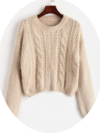 e25bed6ffc811a Women Sweaters Fluffy Yarn Cable Knit Sweater Crop Top Pullover Jumpers  Crew Neck