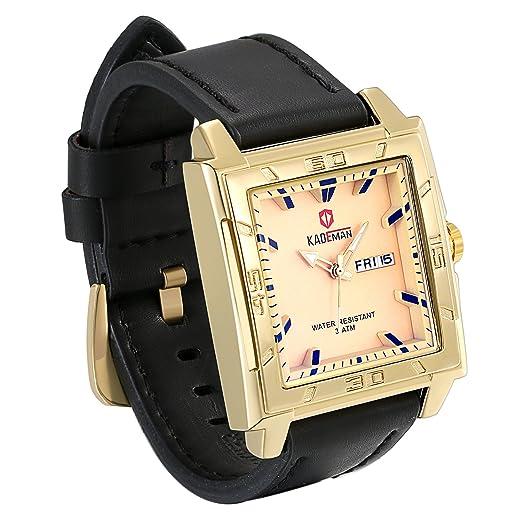 ebfaea3b0 JewelryWe Men Square Big Wrist Watch Japan Quartz Analog Leather Business  Dress Watches