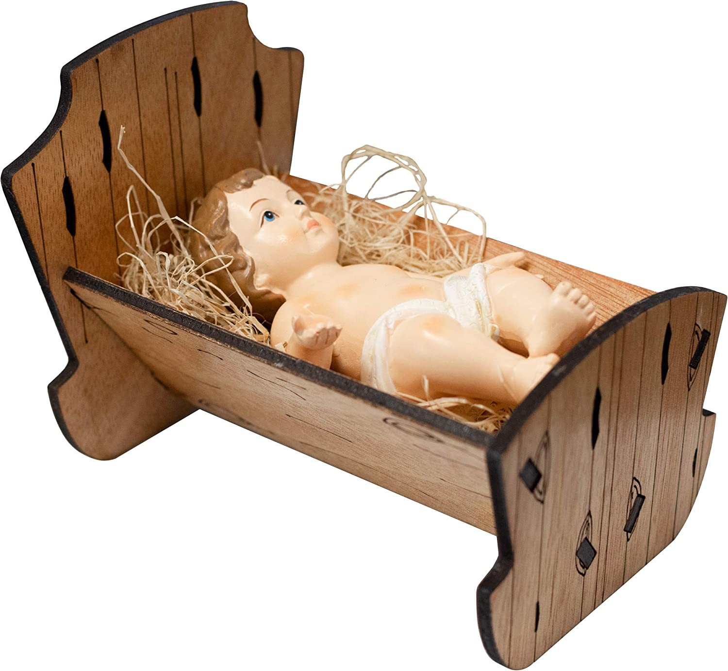 Baby Jesus in Manger | Perfect for Indoor Nativity Scene | Traditional Religious Christmas Decoration | Wooden Manger with Removable Baby Jesus | Great Gift | Choose from 3 Sizes (Large)