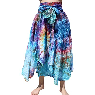 Full Funk Maxi Gypsy Dancing Long Skirt TieDyed Circle Embossed Cotton at Women's Clothing store