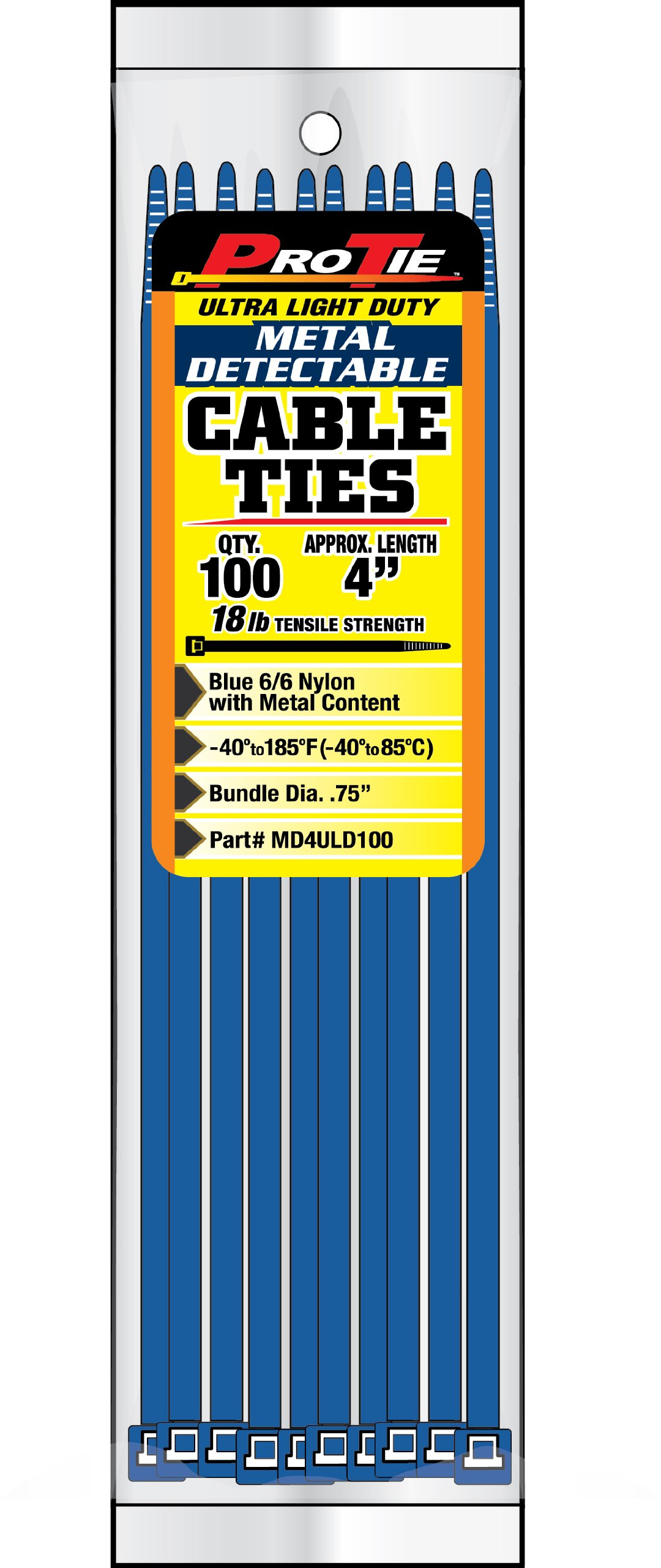 Pro Tie MD4ULD100 4-Inch Metal Detectable Ultra Light Duty Cable Ties, Blue, 100-Pack