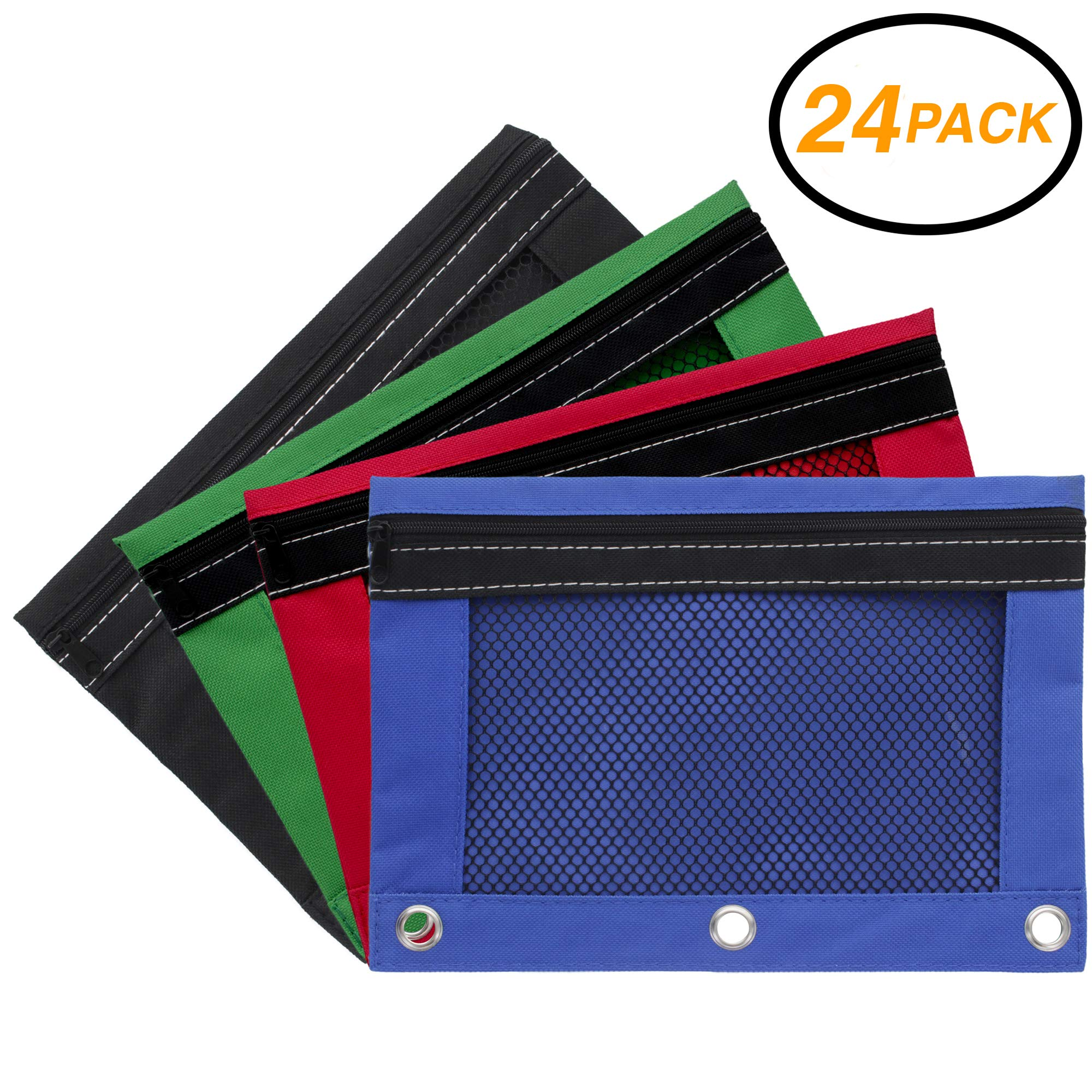 Emraw Zippered Pencil Pouches with 3-Ring Grommet Holes & Quick View Mesh Pocket - Colors Included: Black, Green, Red, Blue (24 Pack) by Emraw