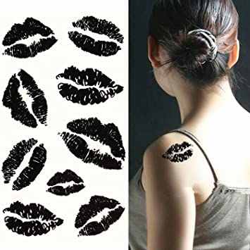 Amazon Com Ecbasket Temporary Tattoo Stickers Fashion Black Lips