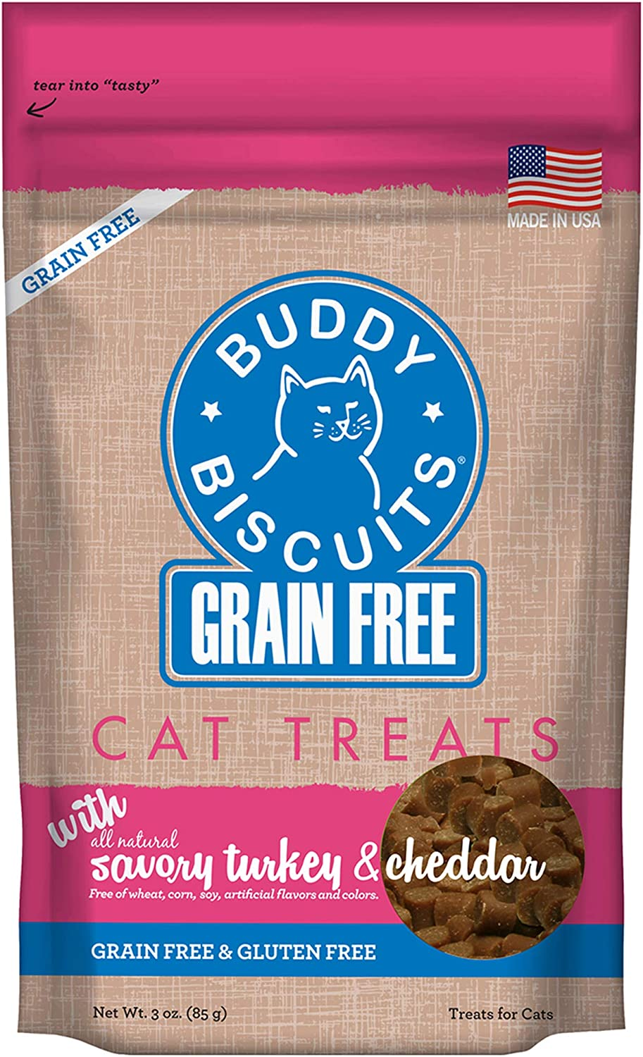 Buddy Biscuits Grain Free Cat Treats, Soft & Chewy, No Added Gluten, Wheat, Corn or Soy