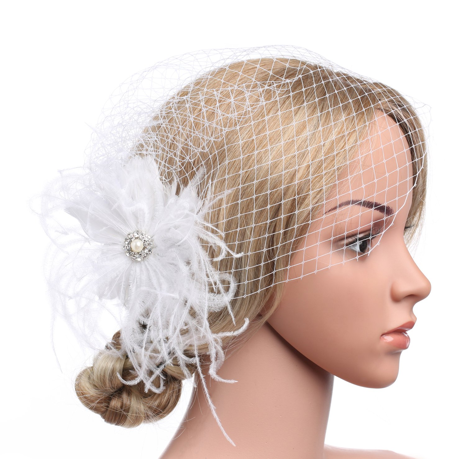 BABEYOND Bridal Wedding Fascinator Mesh Feather Fascinator Hair Clip Hair Fascinator Veil Crystal Wedding Veil (White)