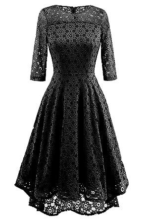 NALATI Women Vintage Solid 3/4 Sleeve Round Neck High Waist High-Low Hip