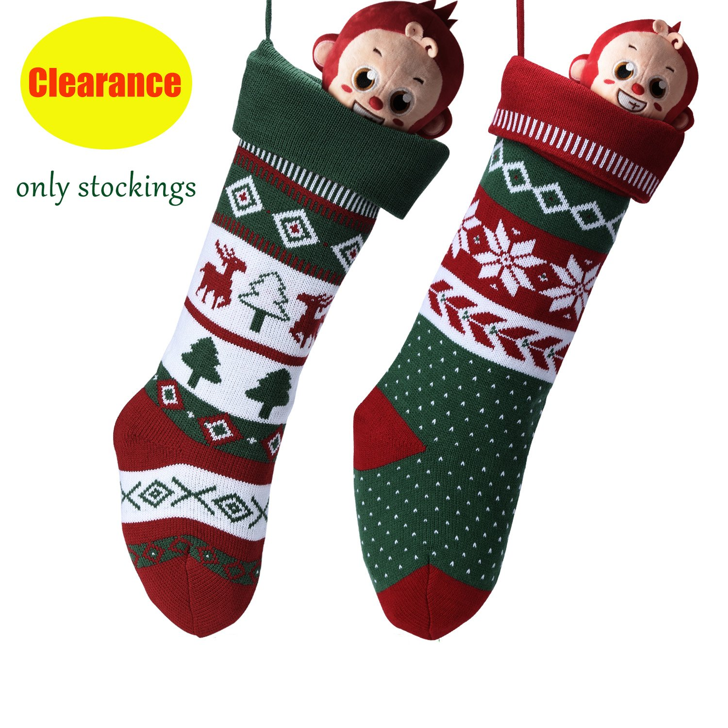 Knit Christmas Stockings for Family 22'' x 7'' Sets of 2 – Red/White/Green Snowflake knitted Hanging Bags - Holiday Gift - Decor,Decorations Christmas Tree,Mantel