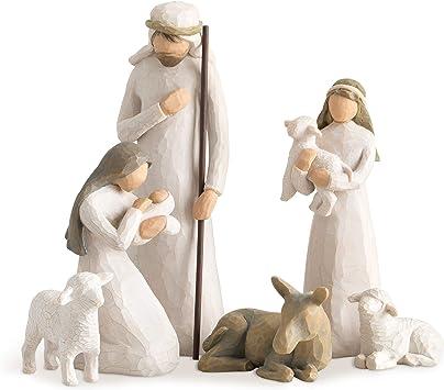 Heilige Familie ca Holz natur 8,5 cm hoch 4-teilig für Figuren Größe 8-9 cm