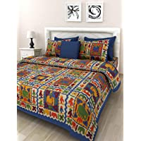 Monik Handicrafts Cotton Rajasthani King Size Double Bedsheet with 2 Pillow Cover