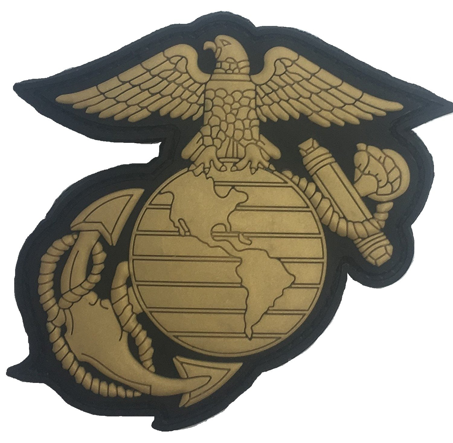 GOLD-BLACK US MARINE CORPS EAGLE GLOBE & ANCHOR PVC PATCH Saber Torch