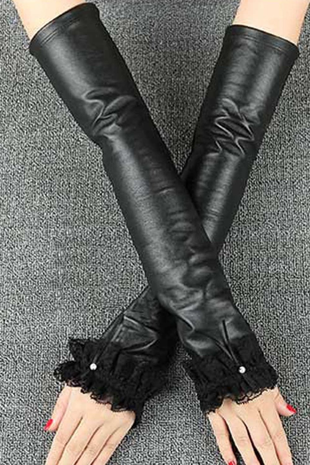 Generic autumn winter leather _sleeve_ black women girl _long,_a_thousand_sheep_ leather glove gloves _half_refers_to stage_night_lace_arm_sleeve_ women girls