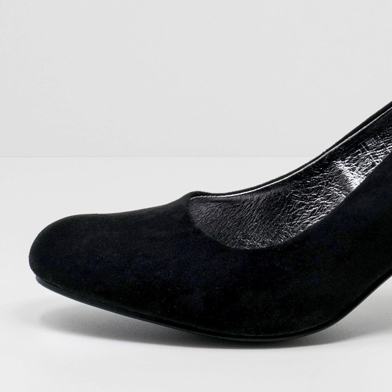 Fitters Footwear That Fits Damas Zapatos de Tacón Princess Microfibra Zapatillas con Forro cómodo de Piel (EU,) Negro