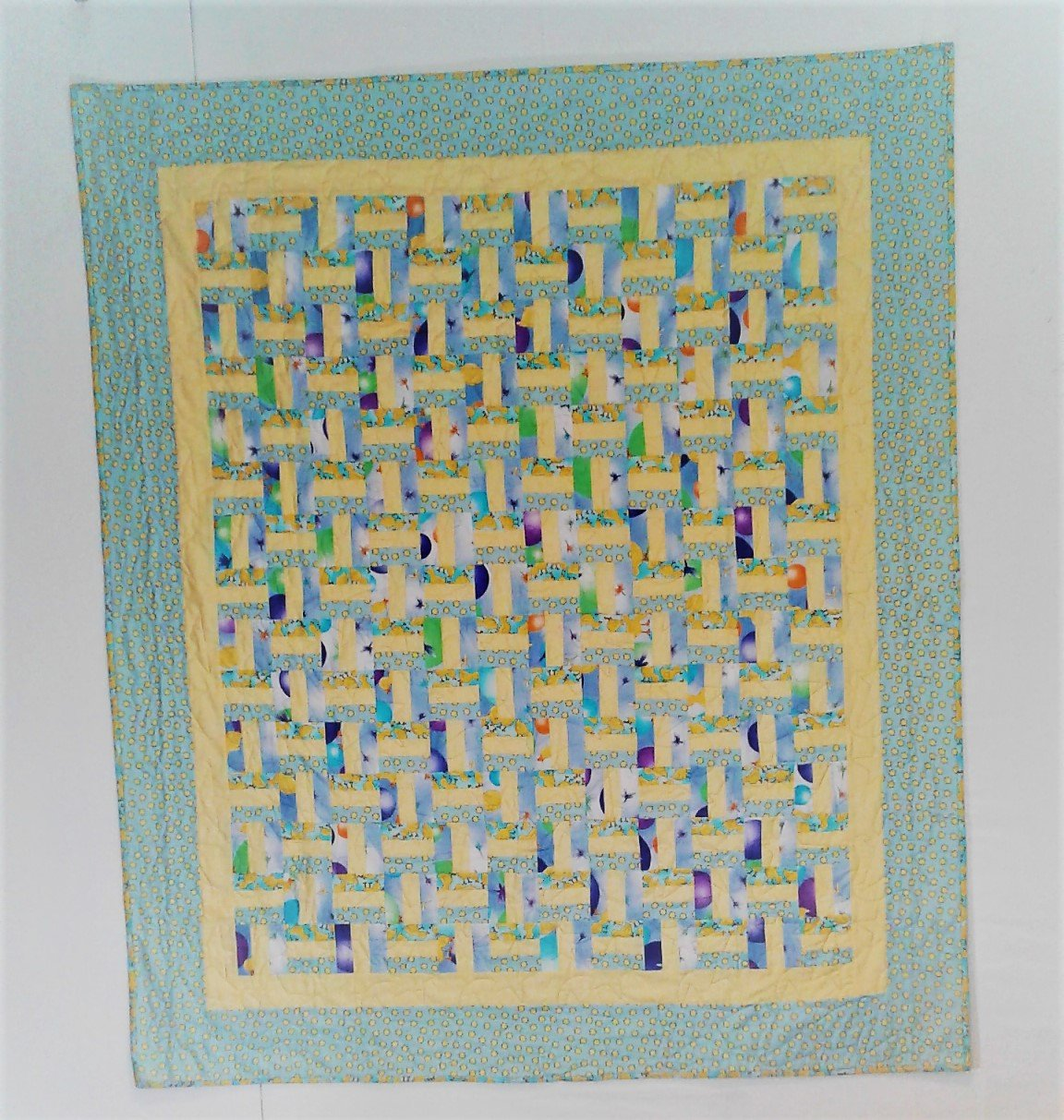 Fence Rail Baby Quilt with Ducks, Blue, Yellow, and Dragon Flies
