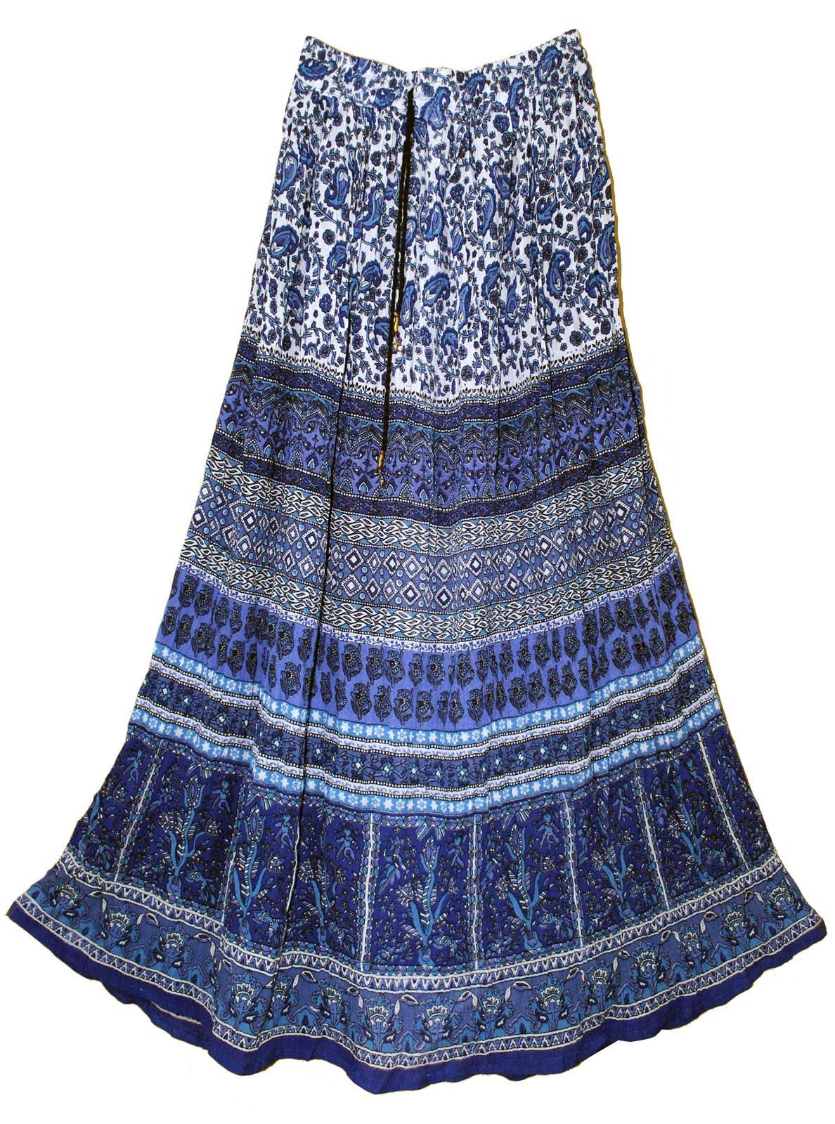 Womens Indian Crinkle Broomstick Gypsy Long Skirt Blu Jaal