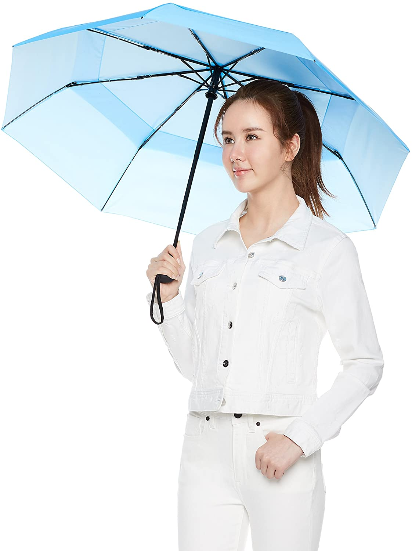 Basics Parapluie avec soufflet de d/écompression Bleu clair