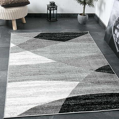 Vimoda tapis salon moderne géométrique motif rayures chiné en gris blanc noir i certifié oeko