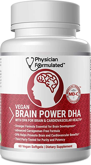 Vegan DHA for Brain and Prenatal 100% Algae Based Omega 3 Essential Fatty Acids with NO Carrageenan, NO Vegetable Oil Plus 2500mcg Astaxanthin - Physician Formulated
