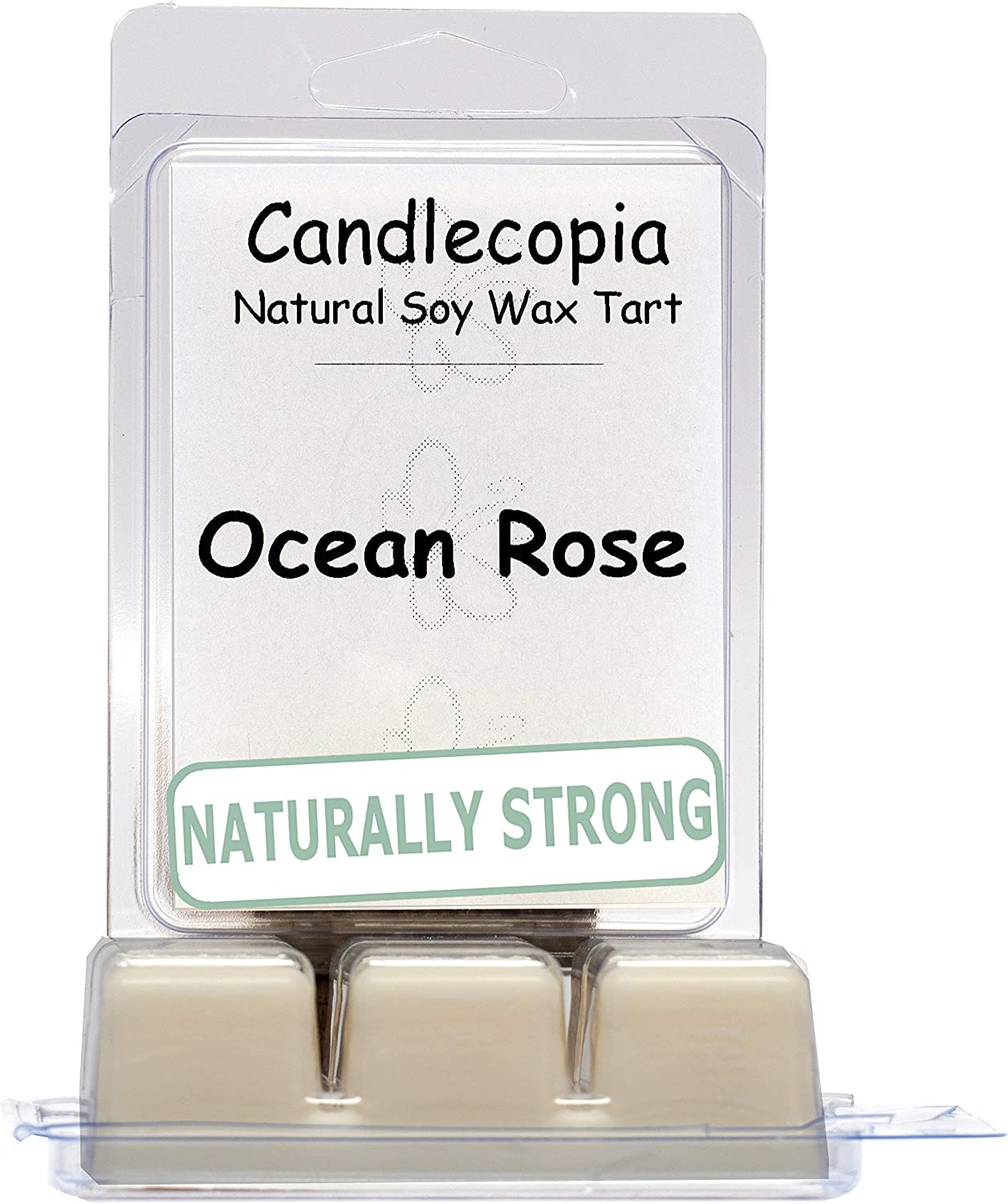 Candlecopia Ocean Rose Strongly Scented Hand Poured Vegan Wax Melts, 12 Scented Wax Cubes, 6.4 Ounces in 2 x 6-Packs
